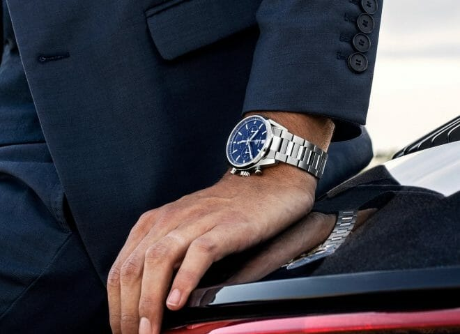 TAG Heuer Carrera Heuer 02 Chronograph Steel Blue Dial 42mm CBN2011.BA0642 Wrist Shot