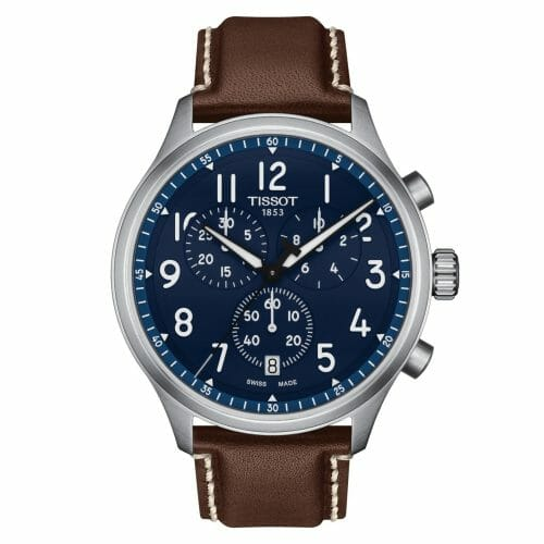 Tissot Chrono XL Steel Blue Dial & Brown Leather Strap 45mm T116.617.16.042.00