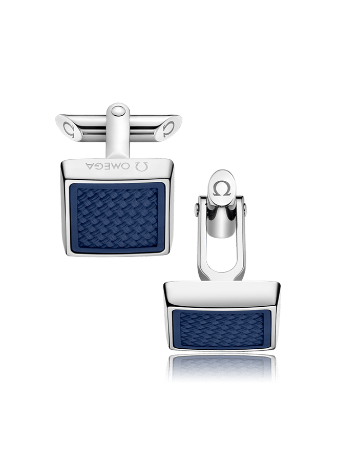 OMEGA Aqua Collection Stainless Steel & Navy Blue Rubber Square Cufflinks OCA05ST0000205