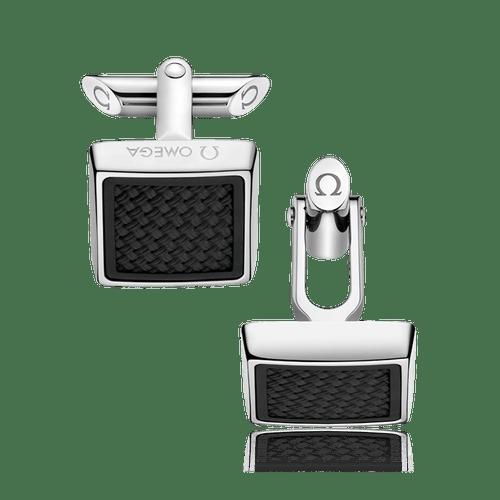 OMEGA Aqua Stainless Steel & Black Rubber Cufflinks OCA05ST0000105