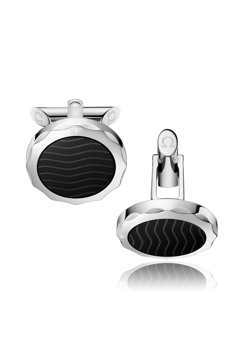 OMEGA Seamaster Collection Stainless Steel & Black Ceramic Cufflinks C607ST0000205