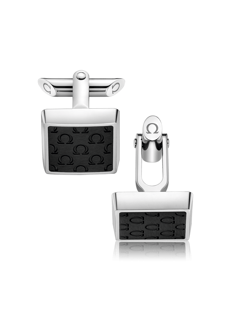 OMEGA Symbol Collection Stainless Steel & Black Resin OMEGA Logo Square Cufflinks OCA02ST0001005