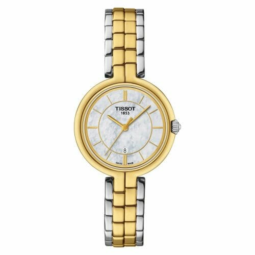 Tissot Flamingo Steel & Gold PVD Coated Mother of Pearl Dial 30mm T094.210.22.111.01