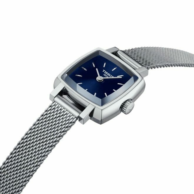 Tissot Lovely Square Steel Blue Dial 20mm T058.109.11.041.00 Angle