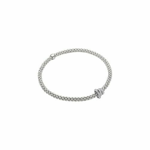Fope 18ct White Gold Flex'It Prima Bracelet with Diamond Roundels 744B PAVE