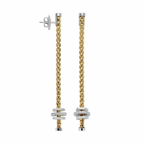 Fope 18ct Yellow Gold Eka Tiny Drop Earrings with Plain & Diamond Hexagonal Roundels OR754 BBR