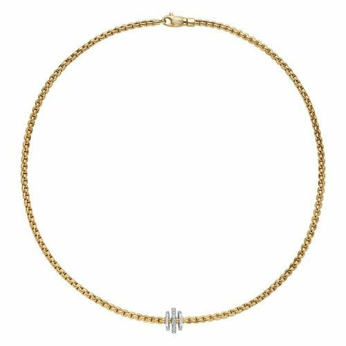 Fope 18ct Yellow Gold Eka Tiny Necklace with Plain & Diamond Hexagonal Roundels 754C BBR 43cm
