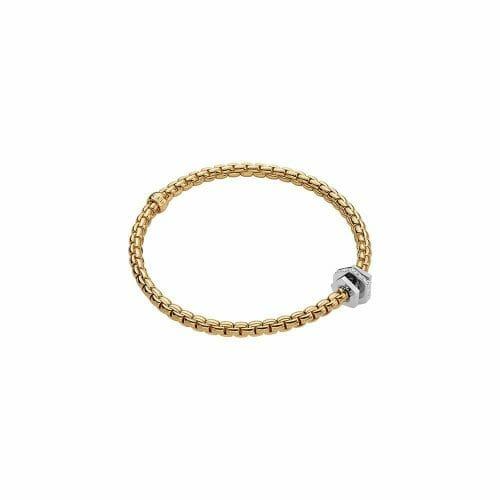 Fope 18ct Yellow Gold Flex'It Eka Tiny Bracelet with Plain & Diamond Roundels 754B BBR