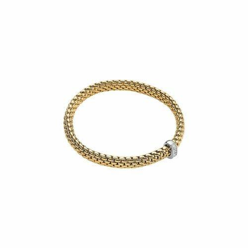 Fope 18ct Yellow Gold Flex'It Vendôme Bracelet with Princess Cut Diamond Roundel 584B BBR