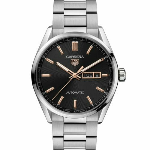 TAG Heuer Carrera Calibre 5 Automatic Day-Date Steel Black Dial with Rose Gold Accents 41mm WBN2013.BA0640