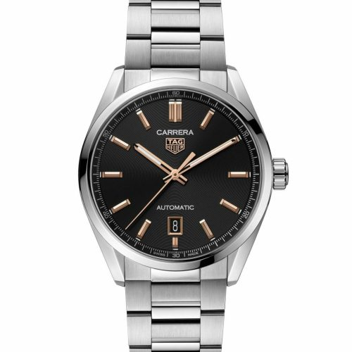 TAG Heuer Carrera Calibre 5 Automatic Steel Black Dial with Rose Gold Accents 39mm WBN2113.BA0639