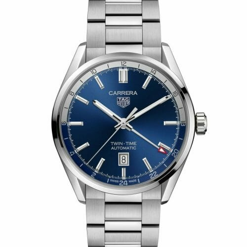 TAG Heuer Carrera Calibre 7 Automatic Twin Time Steel Blue Dial 41mm WBN201A.BA0640